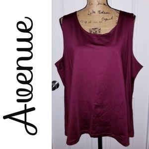 Avenue, Plus Size 26/28, Shiny, Dark Red, Tank Top